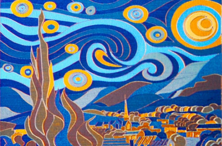 """This miniature version of Starry Night was made with a """"laser paintbrush"""""""