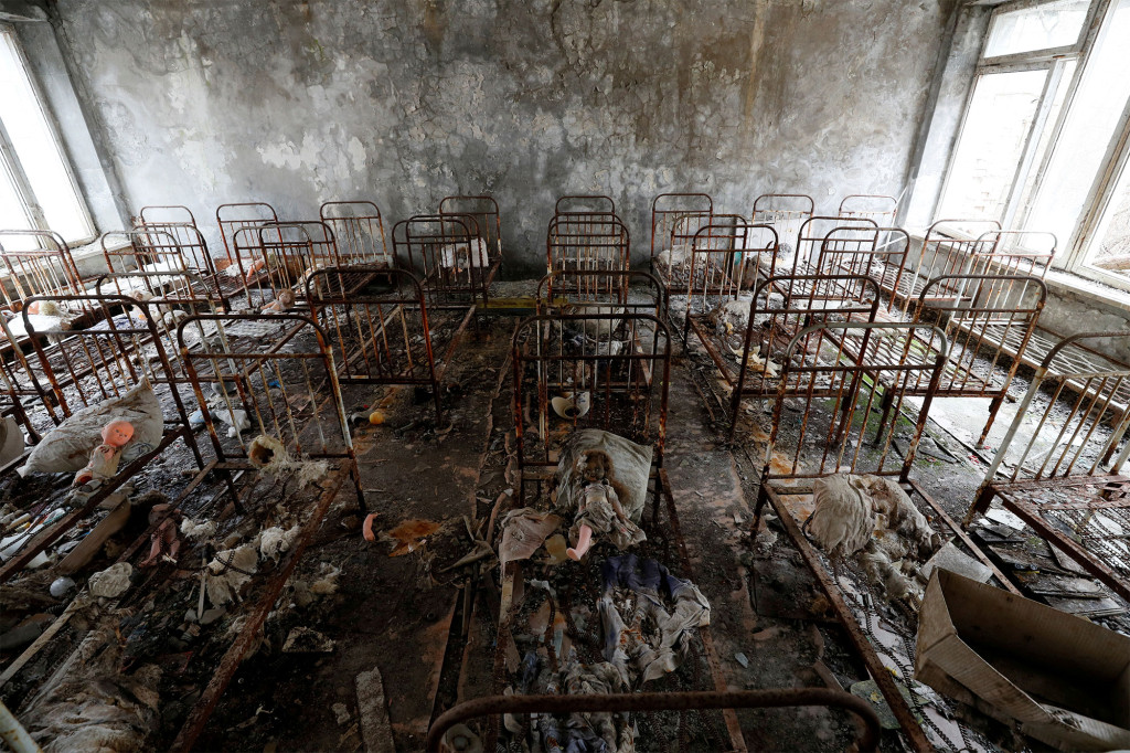 FILE PHOTO: Children's beds are seen in a kindergarten near the Chernobyl Nuclear Power Plant in the abandoned city of Pripyat