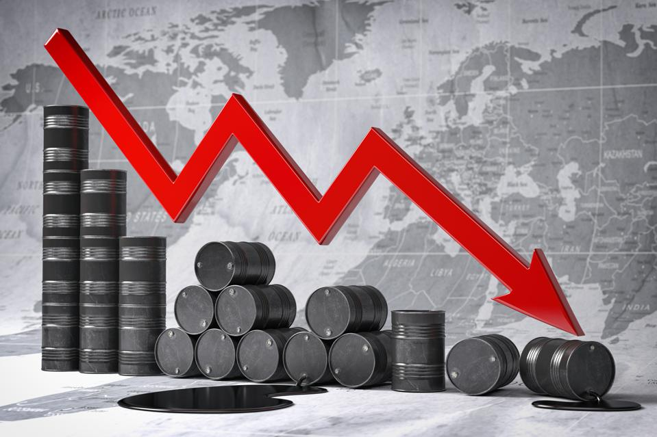 Crisis in oil and petroleum ndustry. Oil barrels and falling graph on world map background. Oil price or production decrease concept. 3d illustration