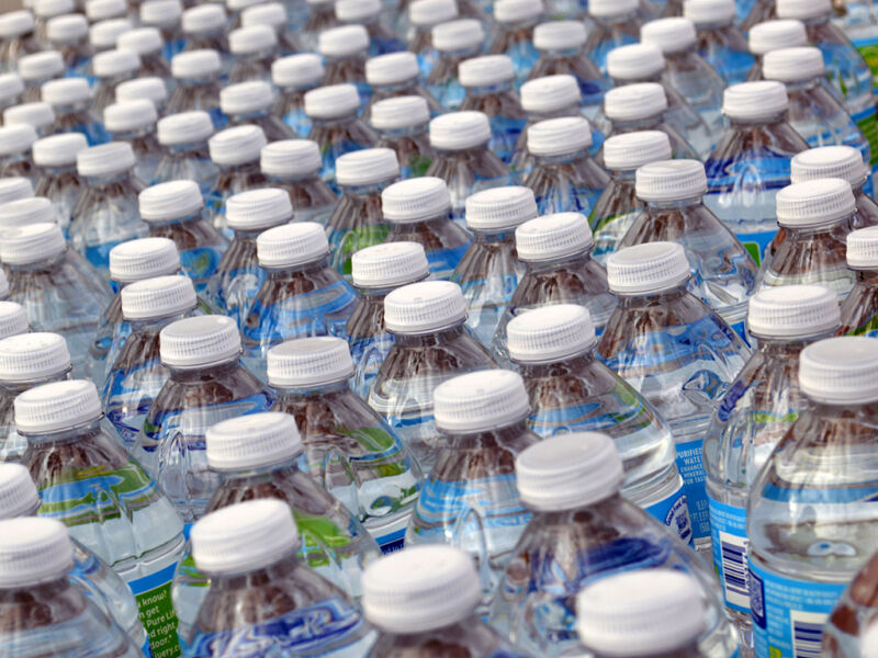 Rows and rows of water bottles.