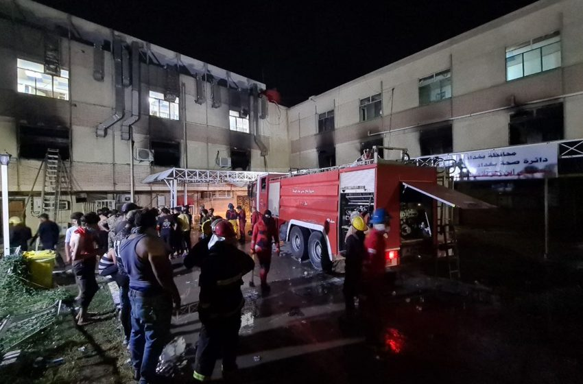 Fire tears through Baghdad hospital for COVID-19 patients