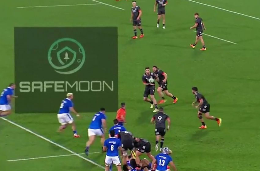 Random Cryptocurrency labelled a 'scam' appears on the field in Maori All Blacks versus Samoa test